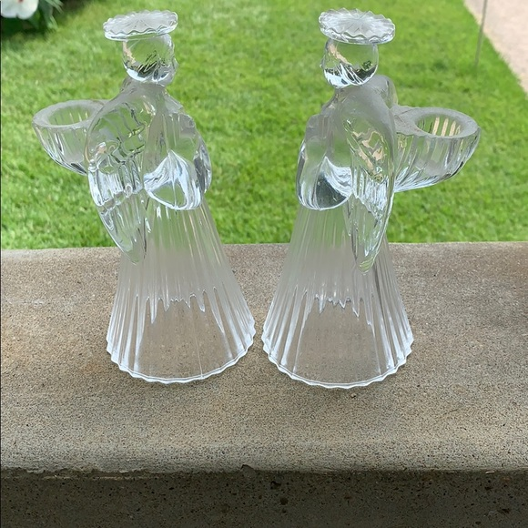 Other - PAIR OF 24% LEAD CRYSTAL ANGEL CANDLE HOLDERS